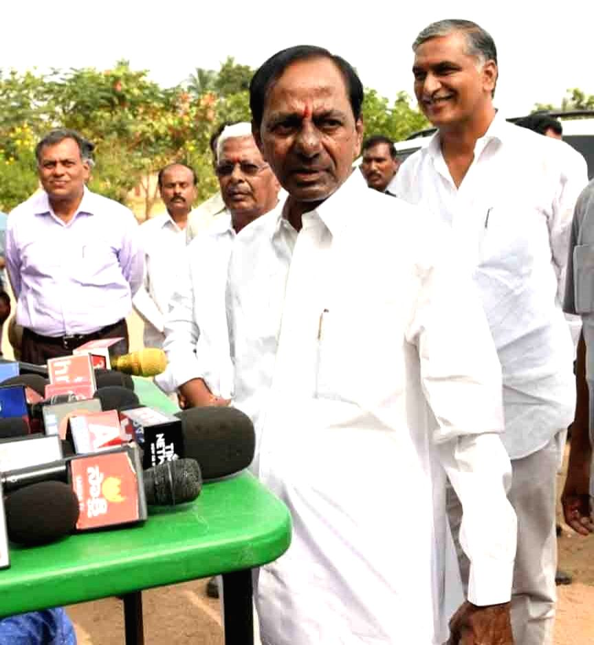 Telangana caretaker Chief Minister and TRS president K Chandrasekhar Rao addresses the media after casting his vote for Telangana Assembly elections in Hyderabad on Dec 7, 2018. - K Chandrasekhar Rao