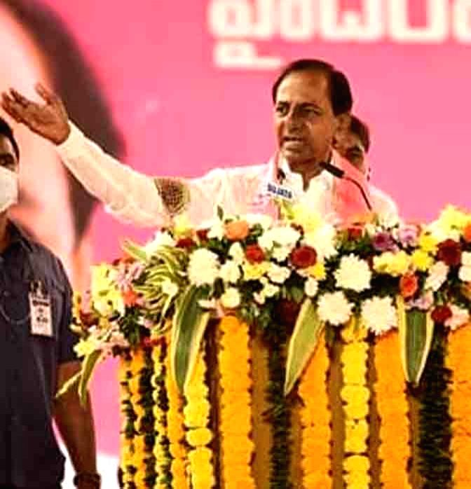 Telangana Chief Minister and TRS President K. Chandrashekhar Rao addresses a public meeting in Hyderabad on Nov 28, 2020.
