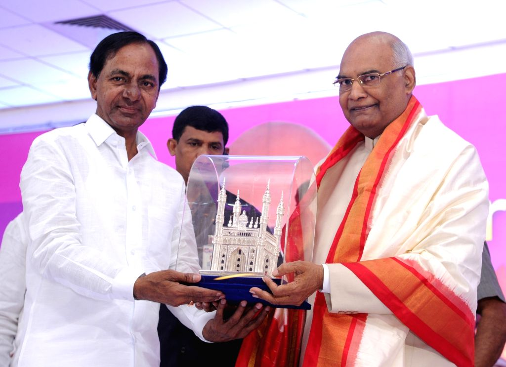Telangana Chief Minister and TRS President K Chandrasekhar Rao greets NDA's presidential candidate Ram Nath Kovind during a meeting of the leaders of Telangana Rashtra Samithi (TRS) in ... - K Chandrasekhar Rao and Nath Kovind