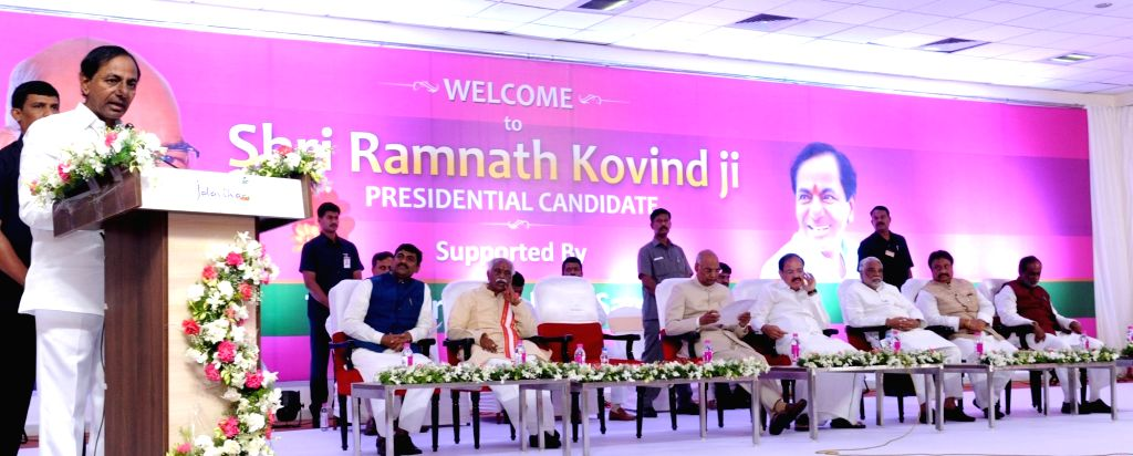 Telangana Chief Minister and TRS President K Chandrasekhar Rao addresses during a meeting of the leaders of Telangana Rashtra Samithi (TRS) in Hyderabad on July 4, 2017. - K Chandrasekhar Rao