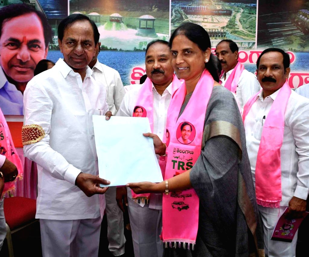 Telangana Chief Minister and TRS supremo K. Chandrasekhar Rao distributes Form-B to the party's candidates for filing their nominations ahead of municipal elections scheduled to be held ... - K. Chandrasekhar Rao