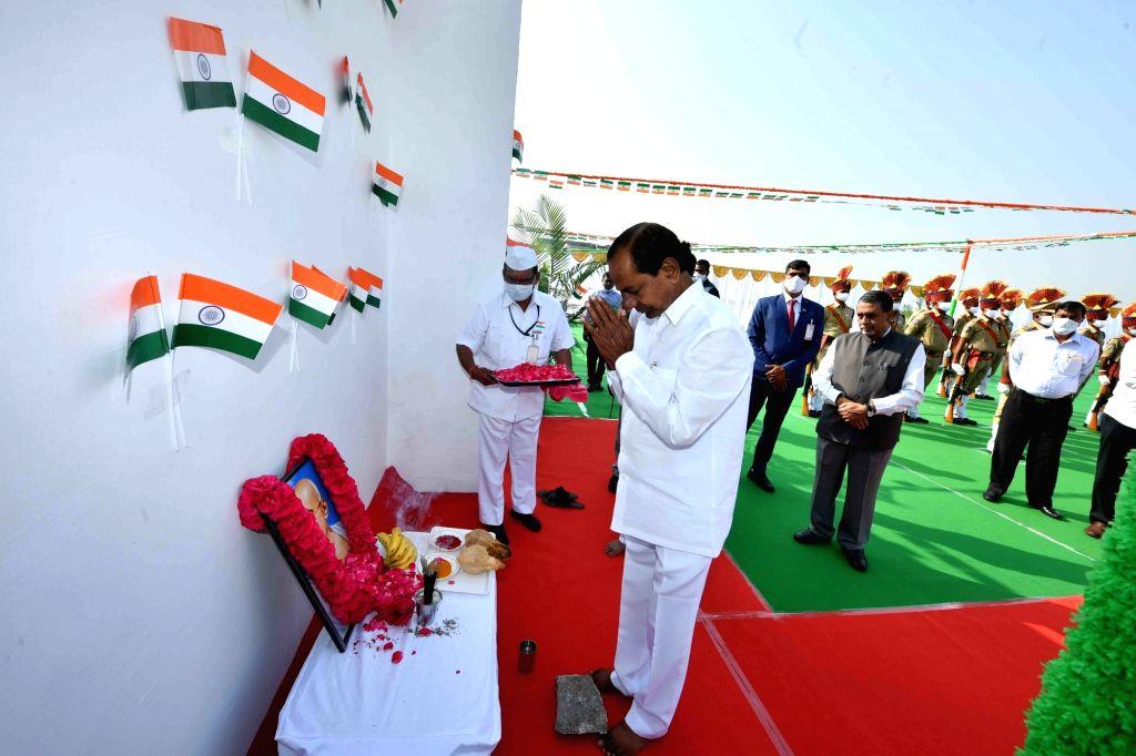Telangana Chief Minister K Chandersheker Rao salutes The National Flag at CM Camp office, Hyderabad on Tuesday, 26th January 2021 - K Chandersheker Rao
