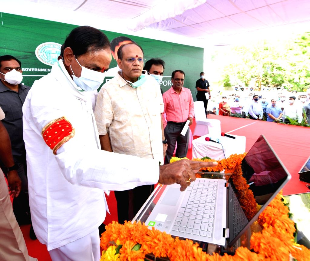 Telangana Chief Minister K. Chandrasekhar Rao launched the 'Dharani' portal that will now enable people in Telangana to register their landed properties online, in Hyderabad on Oct 29, ... - K. Chandrasekhar Rao