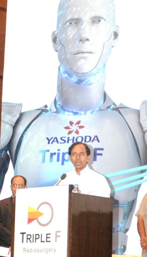 Telangana Chief Minister K Chandrasekhar Rao addresses during a programme organised at a private hospital in Hyderabad on July 13, 2014. - K Chandrasekhar Rao