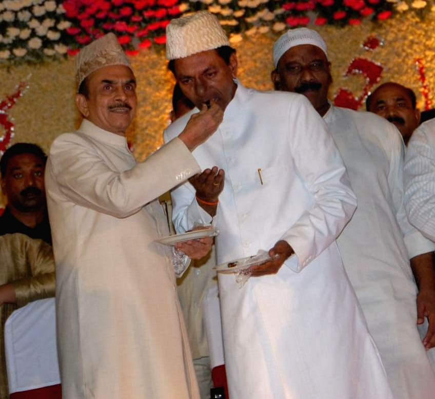 Telangana Chief Minister K Chandrasekhar Rao during an Iftar party in Hyderabad on July 22, 2014. - K Chandrasekhar Rao