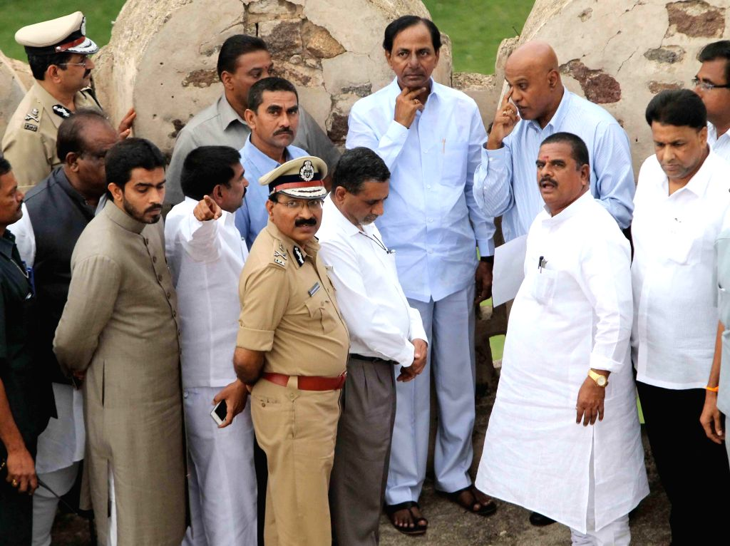 Telangana Chief Minister K Chandrasekhar Rao inspects Golkonda Fort ahead of Independence Day in Hyderabad on Aug 4, 2014. - K Chandrasekhar Rao