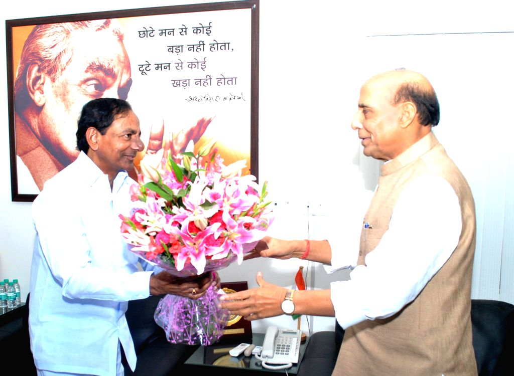 Telangana Chief Minister K Chandrasekhar Rao calls on Union Home Minister Rajnath Singh in New Delhi on Sept 7, 2014. - K Chandrasekhar Rao and Rajnath Singh