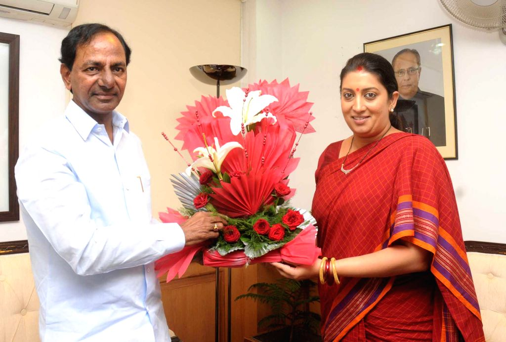 Telangana Chief Minister K Chandrasekhar Rao calls on Union HRD Minister Smriti Z Irani in New Delhi on Sept 7, 2014. - K Chandrasekhar Rao and Smriti Z Irani