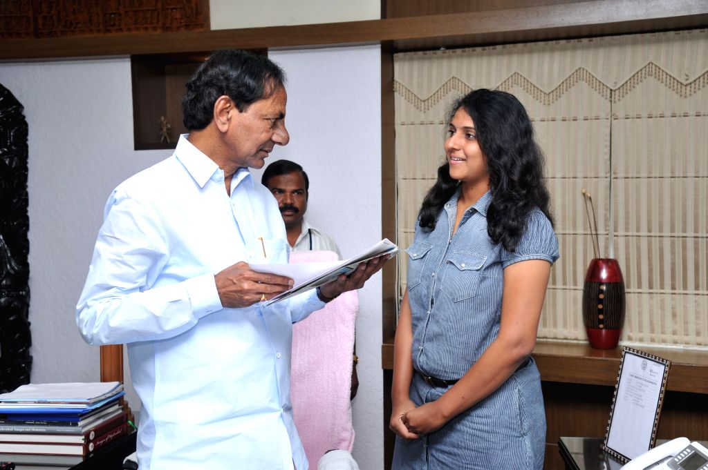 Telangana Chief Minister K Chandrasekhar Rao meets Karate players in Hyderabad on Aug 3, 2015. - K Chandrasekhar Rao