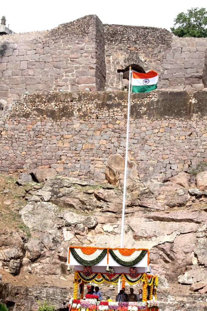 Telangana Chief Minister K Chandrasekhar Rao salutes the national flag on the occasion of 69th ``Independence Day`` celebration at Golconda Fort in Hyderabad, on Aug 15, 2015.