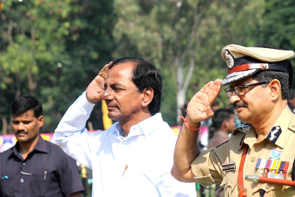 Telangana Chief Minister K Chandrasekhar Rao during  Police Commemoration Day Parade in Hyderabad, on Oct 21, 2015. (Photo: IANS) . - K Chandrasekhar Rao