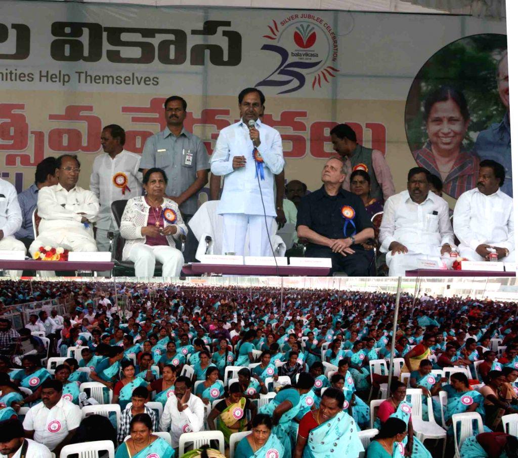 Telangana Chief Minister K Chandrasekhar Rao during the Bala Vikasa Silver jubilee celebrations in Hyderabad on Feb 9, 2016. - K Chandrasekhar Rao