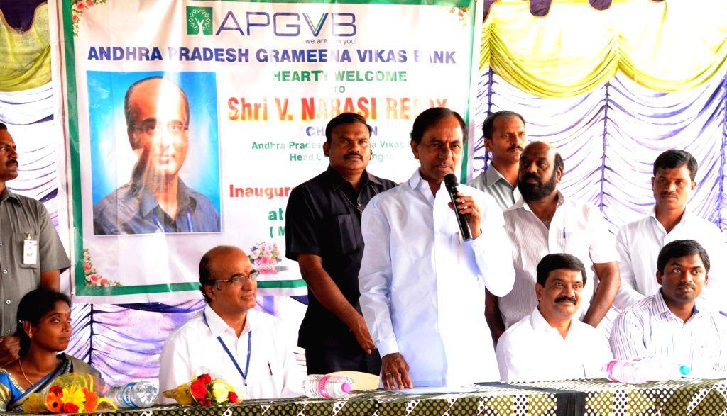 Telangana Chief Minister K Chandrasekhar Rao addresses during a Andhra Pradesh Grameena Vikas Bank programme in Hyderabad on April 20, 2016. - K Chandrasekhar Rao