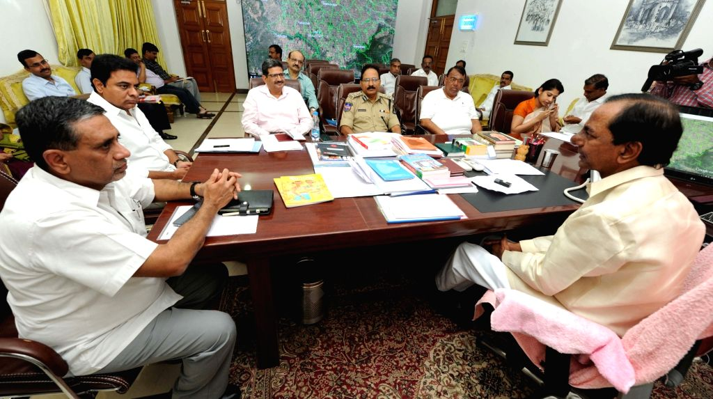 Telangana Chief Minister K Chandrasekhar Rao during a meeting regarding formation of four new districts in the state in Hyderabad on Oct 4, 2016. - K Chandrasekhar Rao