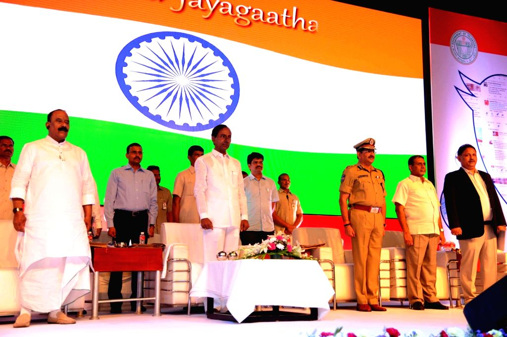 Telangana Chief Minister K Chandrasekhar Rao during a Telangana Police Officers' conference in Hyderabad, on May 19, 2017. - K Chandrasekhar Rao