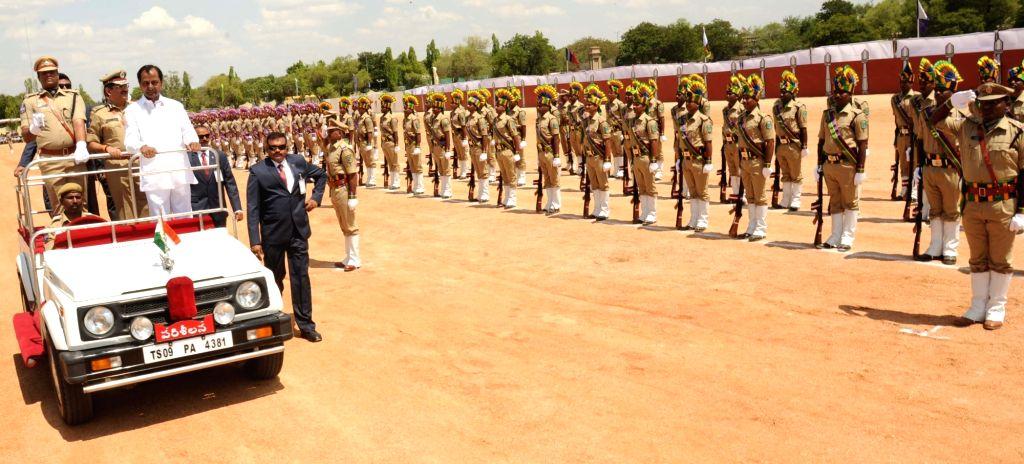 Telangana Chief Minister K Chandrasekhar Rao inspects Guard of Honour on Telangana formation day in Hyderabad, on June 2, 2017. - K Chandrasekhar Rao
