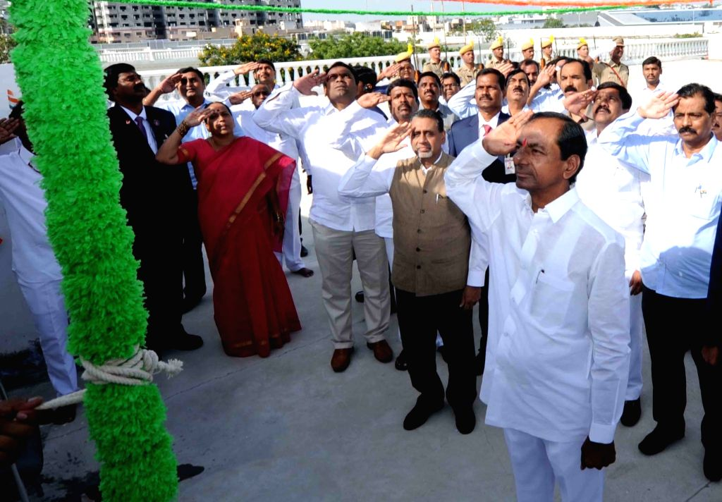 Telangana Chief Minister K Chandrasekhar Rao during Independence Day programme in Hyderabad on Aug 15, 2017. - K Chandrasekhar Rao