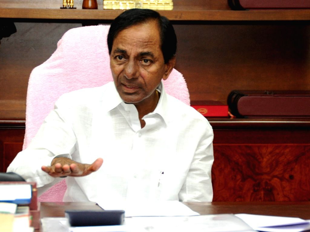 Telangana Chief Minister K Chandrasekhar Rao addresses during a review meeting with the officials on supply of water to Mission Bhagiratha programme in Hyderabad on Sept 11, 2017. - K Chandrasekhar Rao