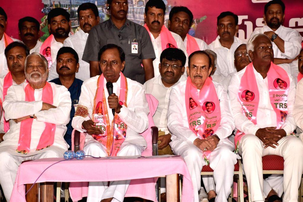 Telangana Chief Minister K Chandrasekhar Rao addresses a press conference in Hyderabad on Dec 11, 2018. - K Chandrasekhar Rao