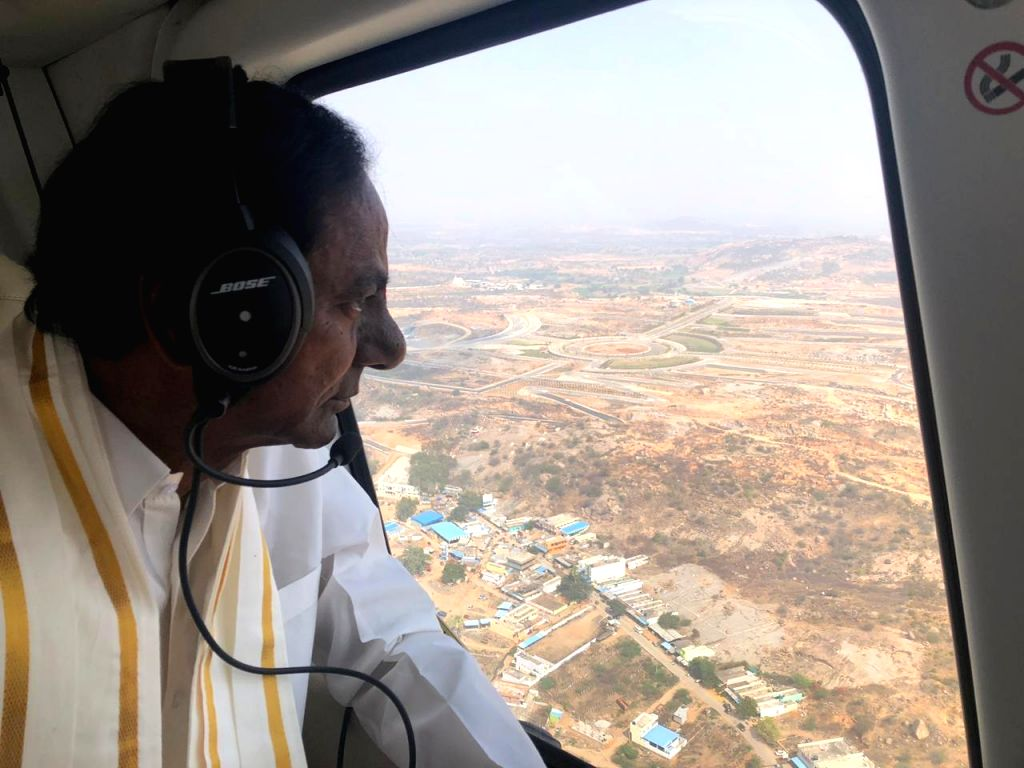 Telangana Chief Minister K Chandrasekhar Rao conducts an aerial survey of Yadadri Temple that he wants develop in the lines of Tirumala temple of Andhra Pradesh. - K Chandrasekhar Rao