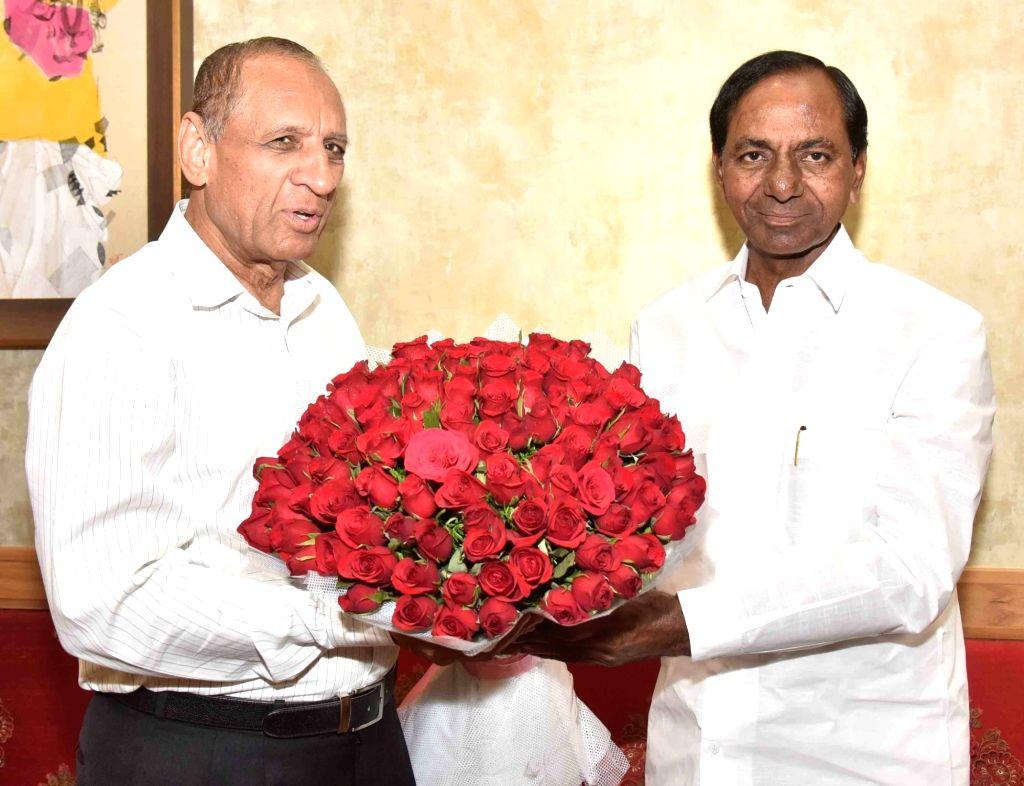 Telangana Chief Minister K Chandrasekhar Rao calls on Governor E S L Narasimhan in Hyderabad on Feb 15, 2019. - K Chandrasekhar Rao