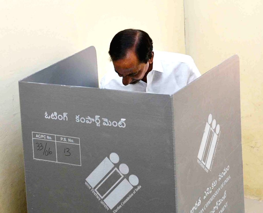 Telangana Chief Minister K Chandrasekhar Rao casts vote during the first phase of Lok Sabha election, at a polling station, in Telangana's Siddipet, on April 11, 2019. - K Chandrasekhar Rao