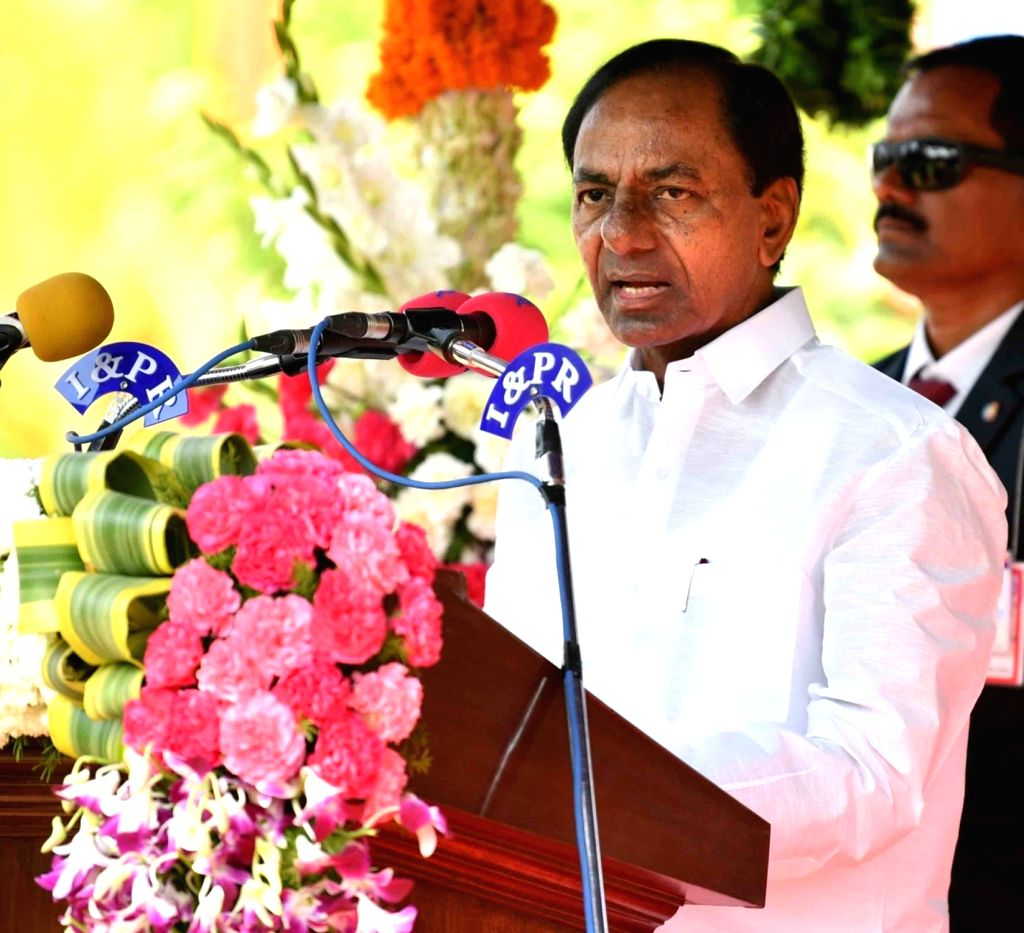 Telangana Chief Minister K Chandrasekhar Rao addresses at a programme, organised on the occasion of Telangana State Formation Day, in Hyderabad, on June 2, 2019. - K Chandrasekhar Rao