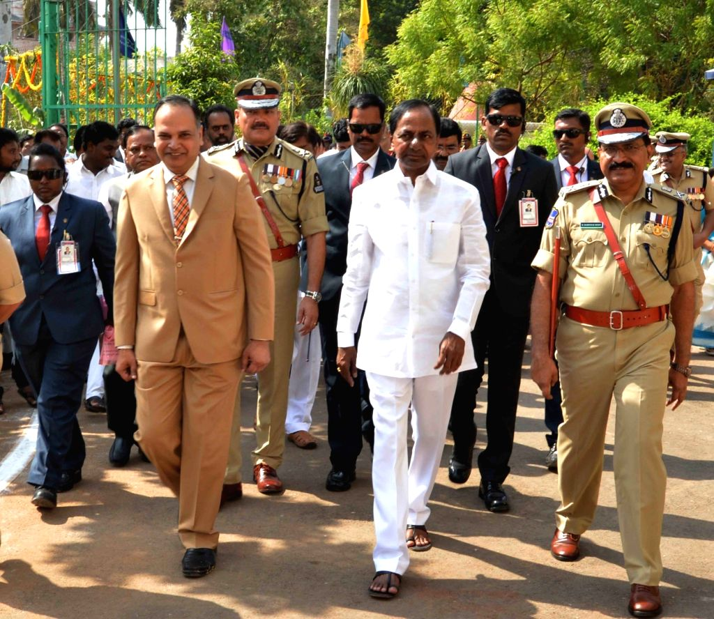 Telangana Chief Minister K Chandrasekhar Rao arrives during a programme organised on the occasion of Telangana State Formation Day, in Hyderabad, on June 2, 2019. - K Chandrasekhar Rao
