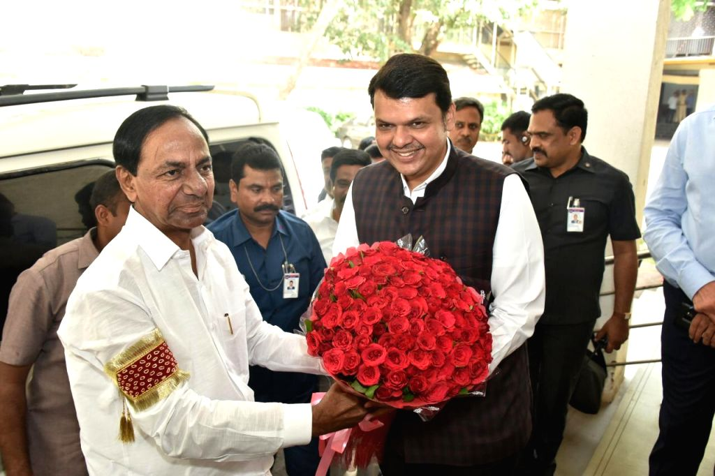 Telangana Chief Minister K Chandrasekhar Rao meets Maharashtra Chief Minister Devendra Fadnavis in Mumbai on June 14, 2019. - K Chandrasekhar Rao