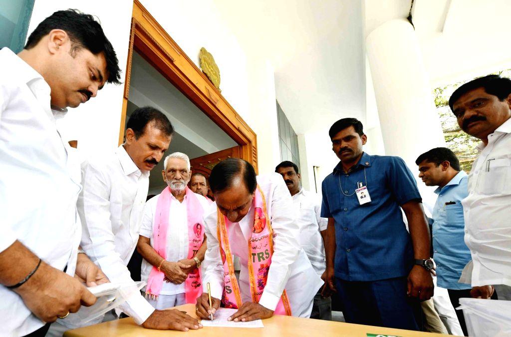 Telangana Chief Minister K Chandrasekhar Rao during a TRS meeting in Hyderabad on July 17, 2019. - K Chandrasekhar Rao