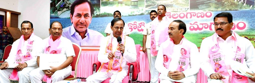 Telangana Chief Minister K Chandrasekhar Rao during a TRS meeting in Hyderabad on July 17, 2019. - K Chandrasekhar Rao