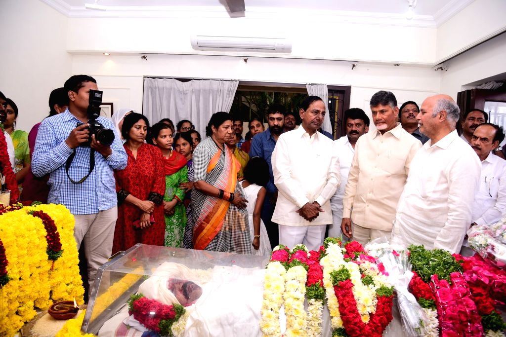 Telangana Chief Minister K. Chandrasekhar Rao and Andhra Pradesh Chief Minister N. Chandrababu Naidu pay homage to actor-politician N. Harkrishna died in a road accident in Telangana's ... - K. Chandrasekhar Rao and N. Chandrababu Naidu