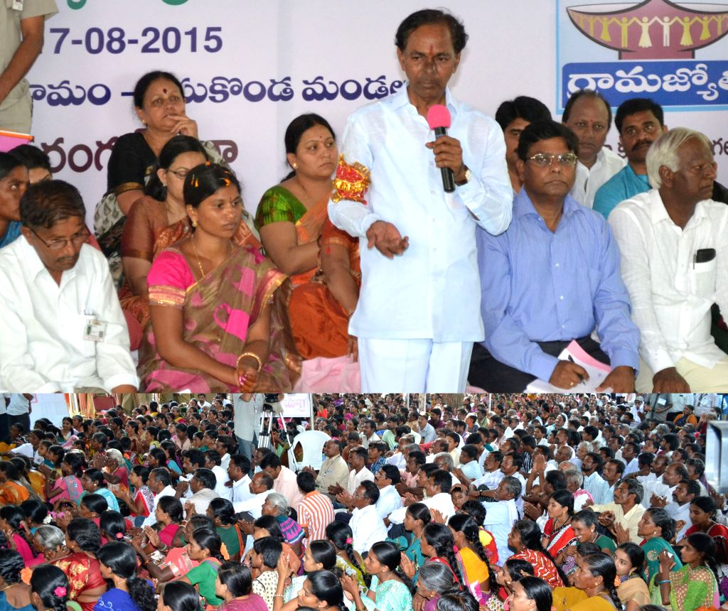 Telangana Chief Minister K Chandrasekhar Rao  at the launch of Grama Jyothi programme in Warangal district of the state on Aug 17, 2015. - K Chandrasekhar Rao