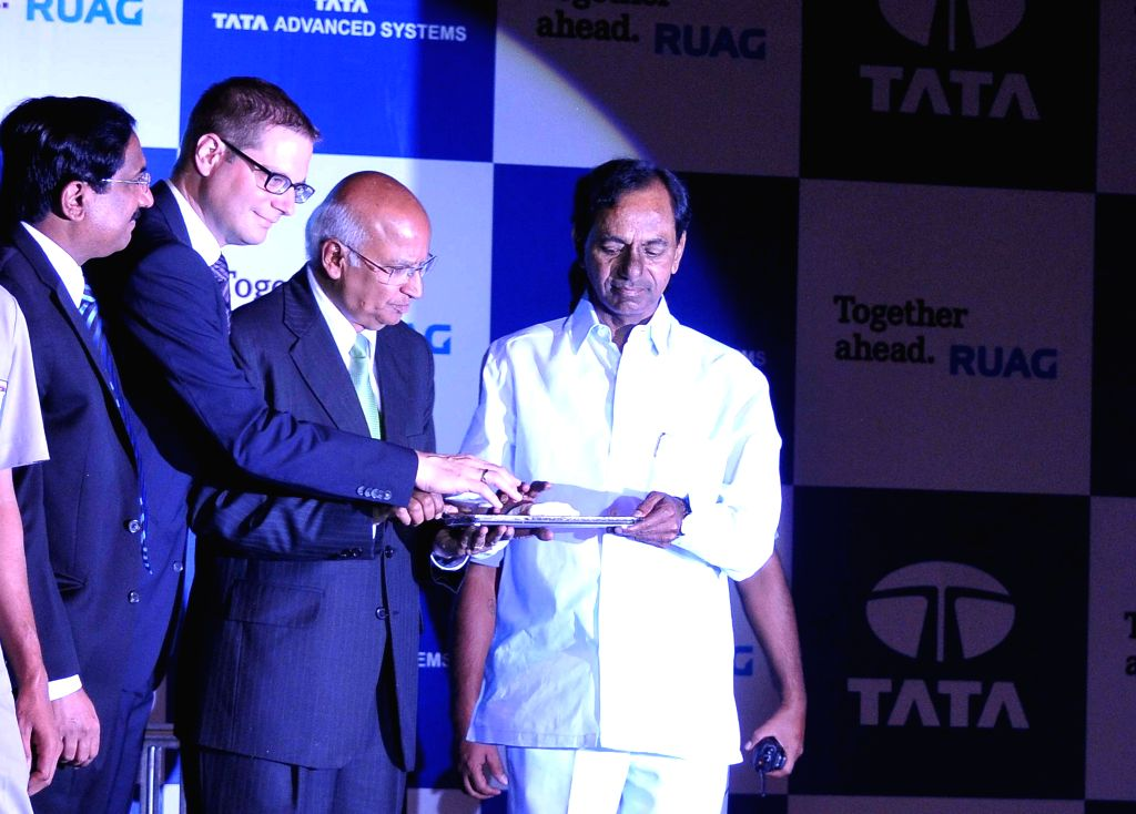 Telangana Chief Minister K Chandrasekhar Rao with S Ramadorai, Chairman of Tata Advanced Systems Ltd and others during the foundation stone laying ceremony of an aerospace project being set up by the - K Chandrasekhar Rao