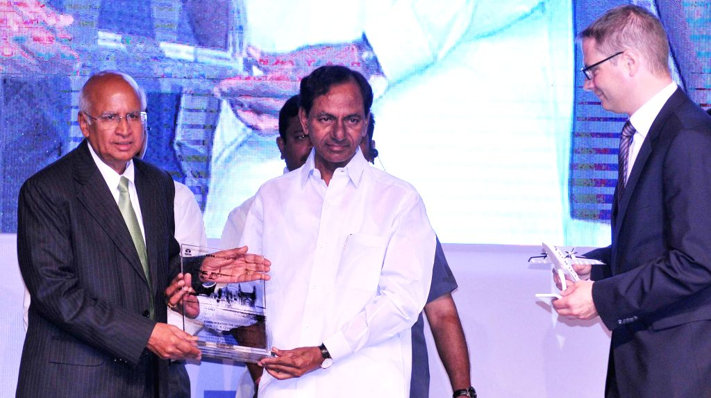 Telangana Chief Minister K Chandrasekhar Rao with S Ramadorai, Chairman of Tata Advanced Systems Ltd during the foundation stone laying ceremony of an aerospace project being set up by the Tata Group - K Chandrasekhar Rao