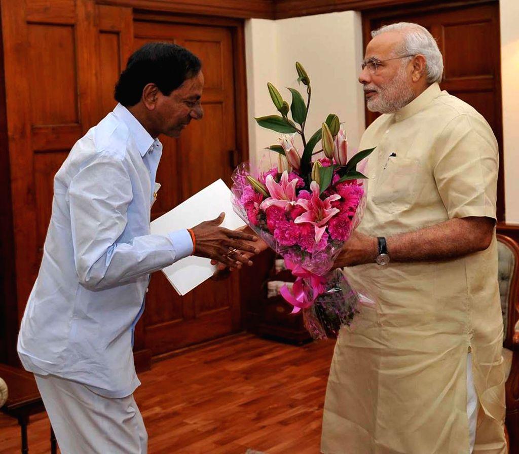 Telangana Chief Minister K. Chandrashekar Rao calls on the Prime Minister Narendra Modi in New Delhi on Sept. 06, 2014.
