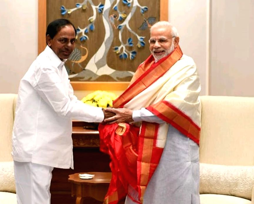 Telangana Chief Minister K. Chandrashekar Rao calls on Prime Minister Narender Modi in New Delhi on Aug 4, 2018. - K. Chandrashekar Rao and Narender Modi