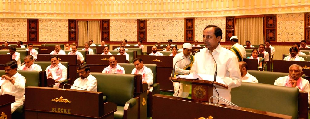 Telangana Chief Minister K. Chandrashekar Rao addresses during the state assembly's budget session in Hyderabad, on Feb 22, 2019. - K. Chandrashekar Rao