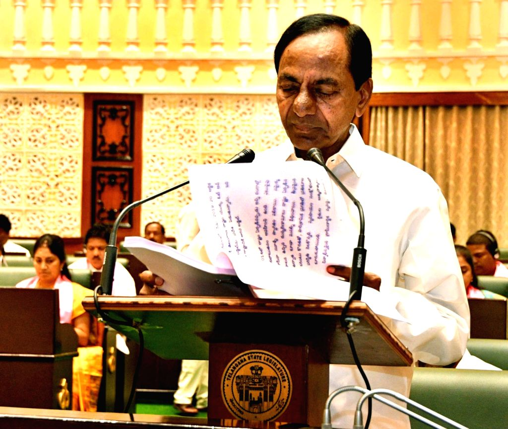 Telangana Chief Minister K. Chandrashekar Rao addresses during the state assembly's budget session in Hyderabad, on Feb 22, 2019. - K. Chandrashekar Rao