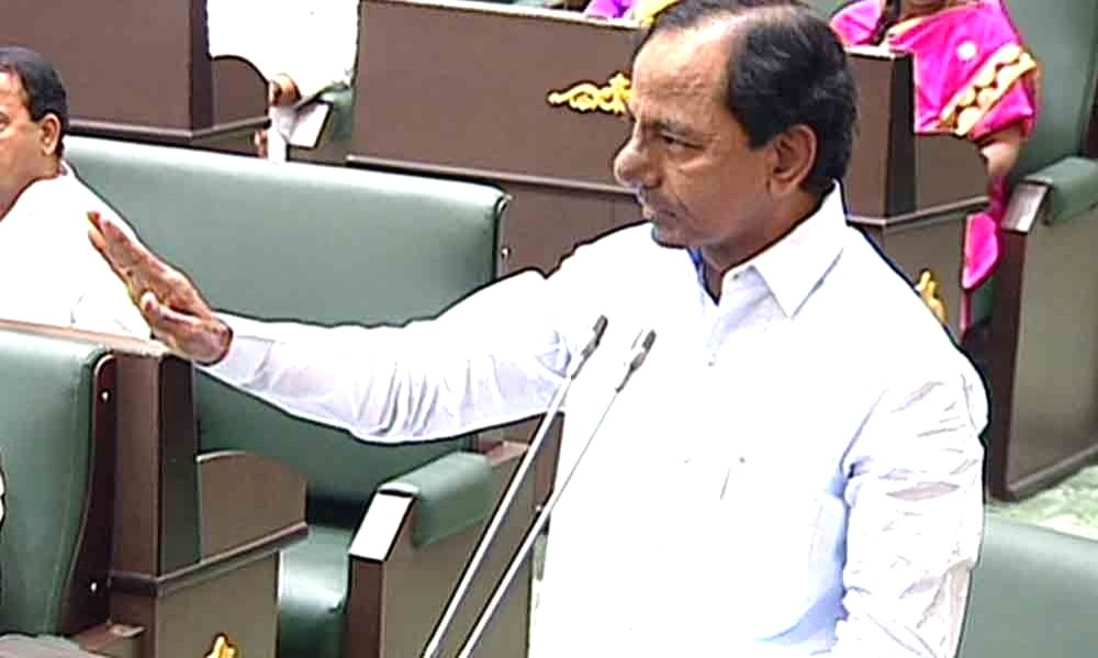 Telangana Chief Minister K. Chandrashekar Rao speaks during the two-day special session of the state assembly, in Hyderabad on July 19, 2019. - K. Chandrashekar Rao