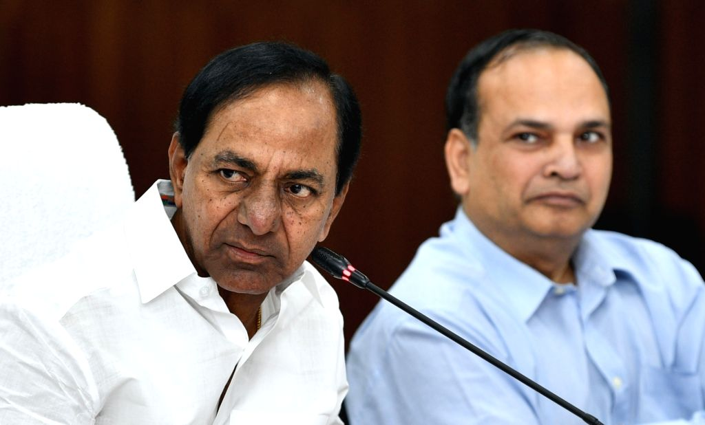 Telangana Chief Minister K. Chandrashekar Rao presides over a meeting with the District Collectors, in Hyderabad on Oct 10, 2019. - K. Chandrashekar Rao