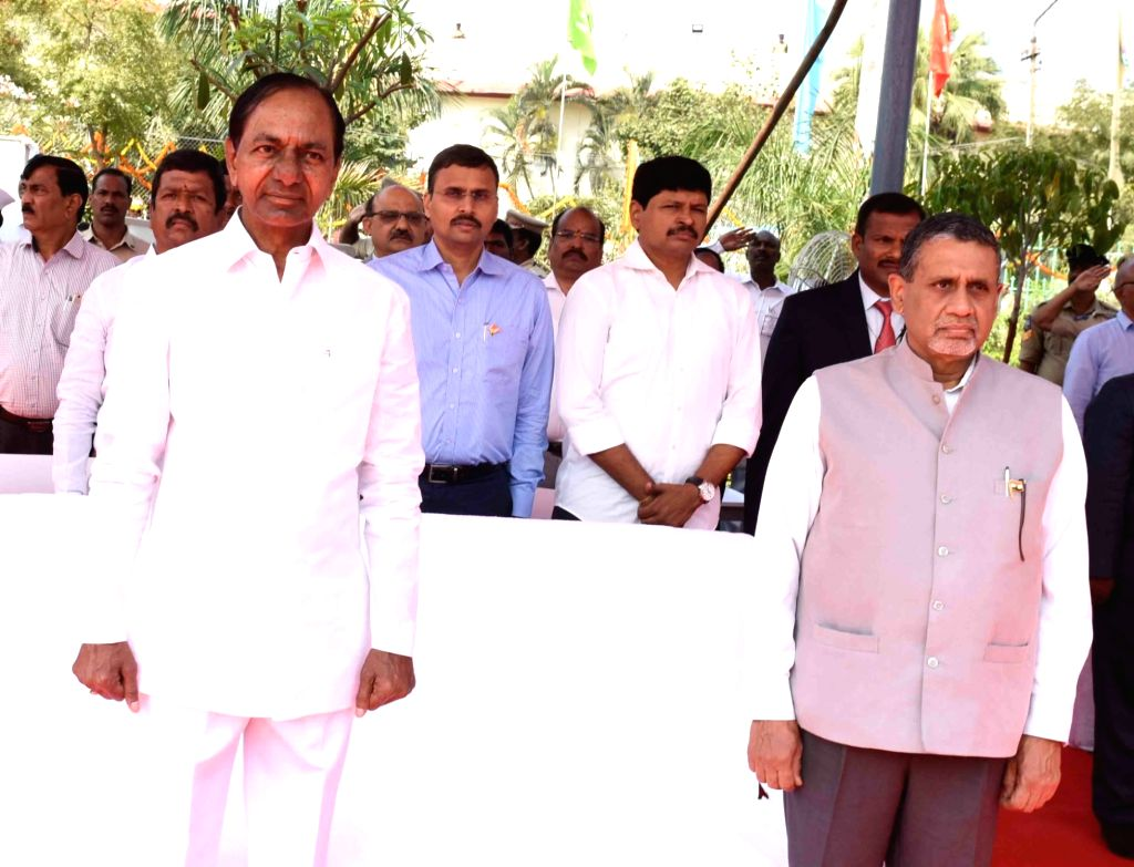 Telangana Chief Minister K. Chandrashekar Rao during the 71st Republic Day celebrations, at Public Garden Lawns in Hyderabad on Jan 26, 2020. - K. Chandrashekar Rao