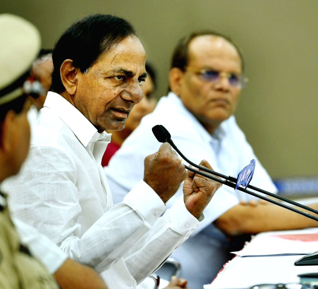 Telangana Chief Minister K. Chandrashekar Rao addresses a press conference in Hyderabad on March 21, 2020. Rao on Saturday called for 24-hour shutdown in the state from 6 a.m. on Sunday as ... - K. Chandrashekar Rao and Narendra Modi