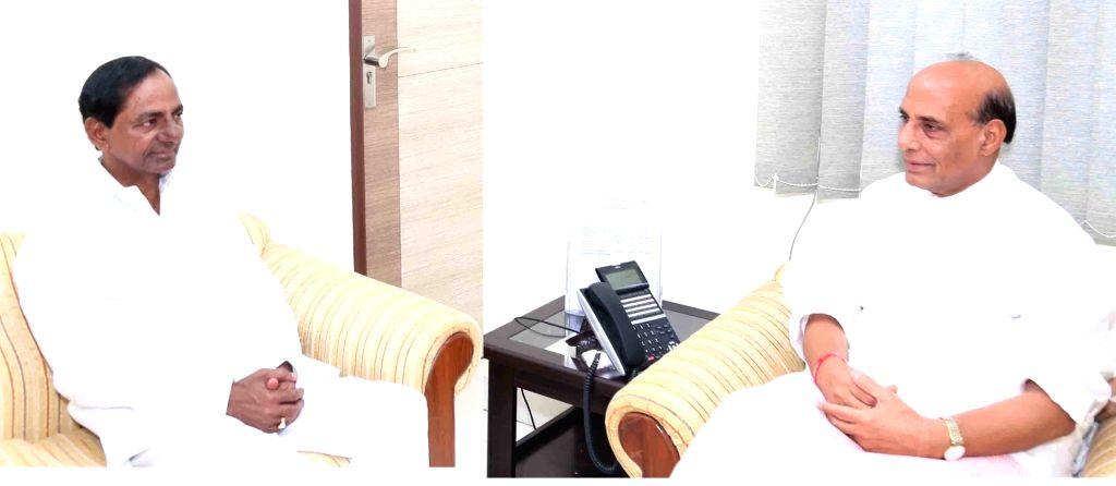 Telangana Chief Minister K Chandrashekhar Rao calls on Union Home Minister Rajnath Singh in New Delhi on July 25, 2017. - K Chandrashekha and Rajnath Singh