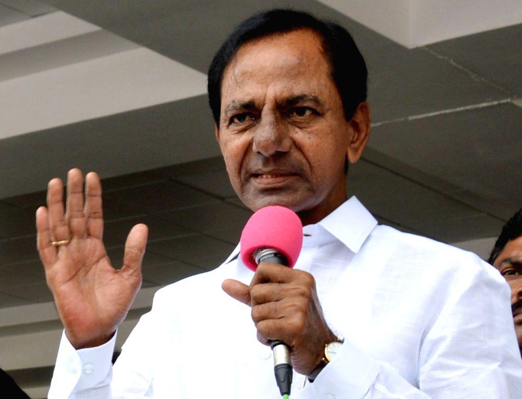 Telangana Chief Minister K. Chandrashekhar Rao during the release of 'Telangana Jagruthi Bathukamma' audio CDs at the Chief Minister's Office in Hyderabad on Sept 17, 2017. - K. Chandrashekha