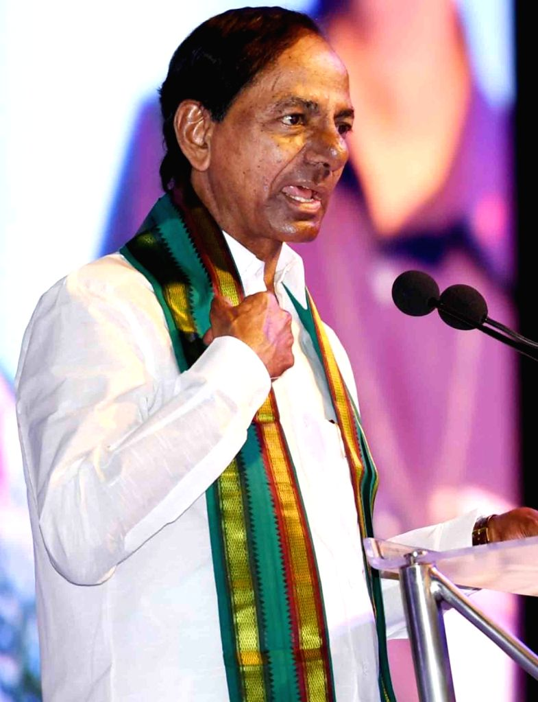 Telangana Chief Minister K. Chandrashekhar Rao addresses during the MoU signing ceremony between the state government and Life Insurance Corporation of India (LIC), in Hyderabad on June 4, ... - K. Chandrashekha