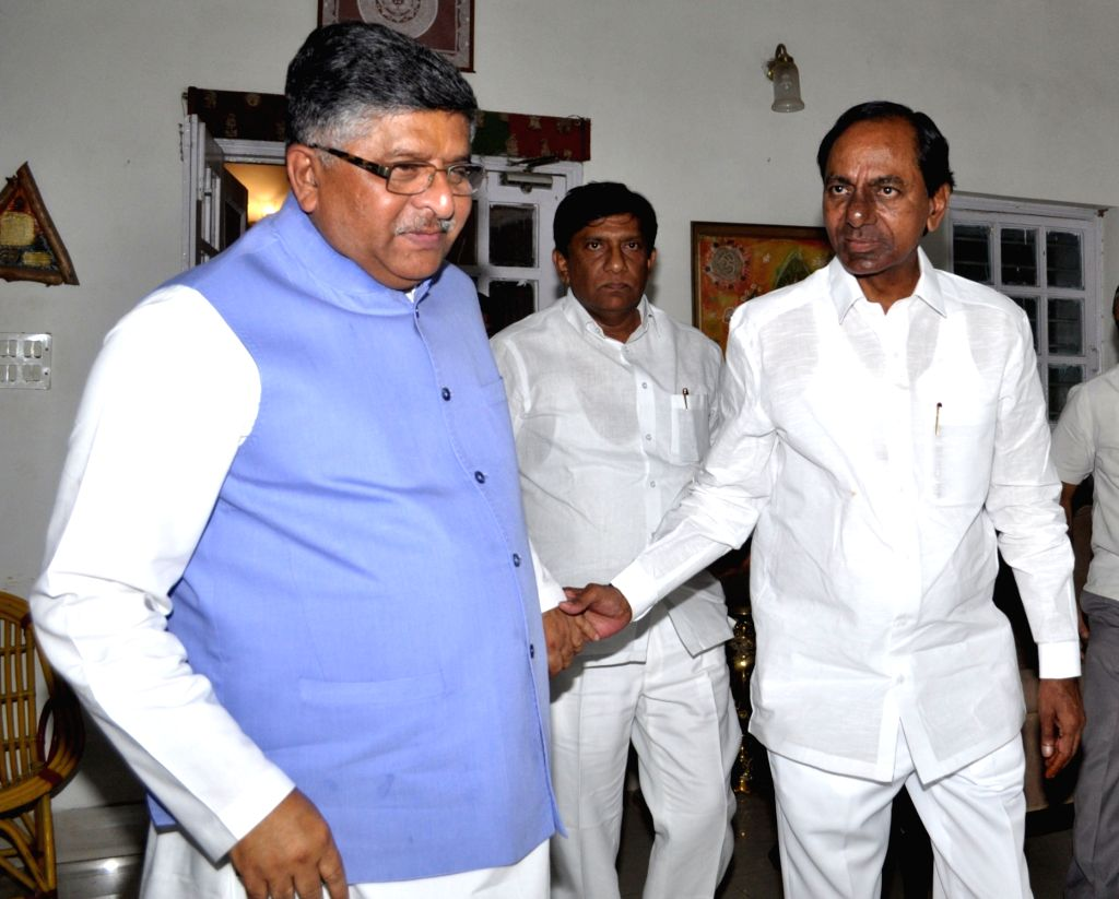 Telangana Chief Minister K. Chandrashekhar Rao calls on Union Law and Justice and Electronics and Information Technology Minister Ravi Shankar Prasad in New Delhi on Aug 3, 2018. - K. Chandrashekha
