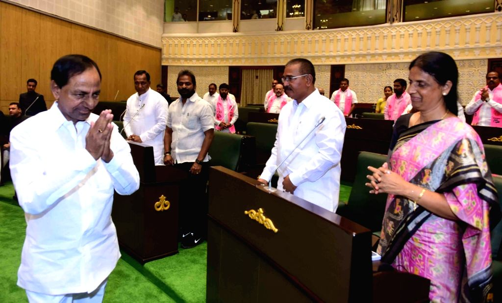Telangana Chief Minister K. Chandrashekhar Rao arrives to present the State Budget for 2019-20 in the state assembly in Hyderabad on Sep 9, 2019. - K. Chandrashekha