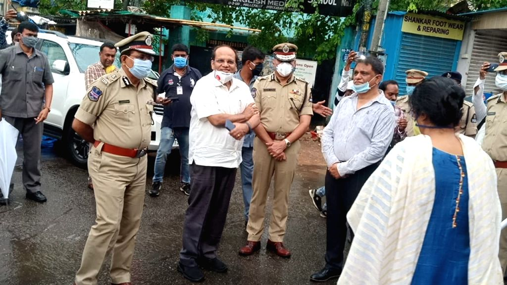 Telangana Chief Secretary Somesh Kumar (second from left) along with top officials visiting a containment cluster in Hyderabad.