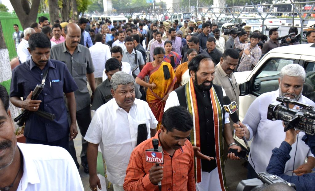 Telangana Congress chief N. Uttam Kumar Reddy along with Congress Legislature Party (CLP) leader Mallu Bhatti Vikramarka and other MLAs and MLCs wearing black badges stage a sit-in at the ...